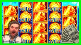 MASSIVE WINNING SLOT MACHINE BONUSES on Fire Wolf Slot Machine With SDGuy1234