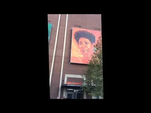 Detroit celebrity portraits outside little Caesars arena