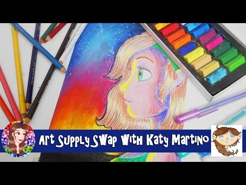 Art Supply Gift Swap/Trade with Katy Martino - Mystery Art Supplies Challenge