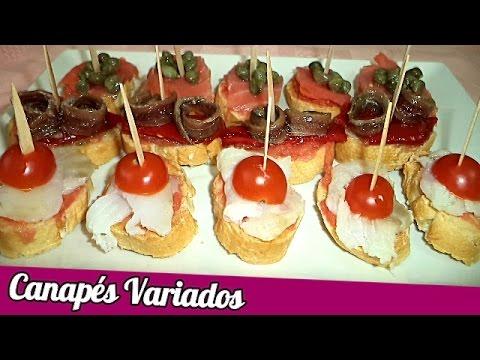 Canap s variados recetas de cocina youtube for Recetas para canape