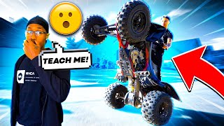TEACHING COREY HOW TO WH33LIE HIS QUAD ! | BRAAP VLOGS