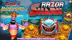 RAZOR SHARK 🦈 SLOT SESSION - With a Hint of Genie Jackpots  🚨 ONLINE CASINO BONUS - WIN & CASHOUT !!
