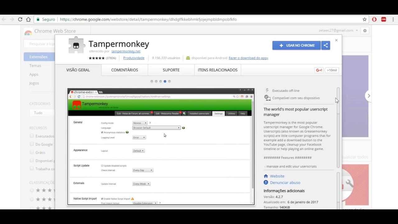 TamperMonkey - Como instalar #TamperMonkey