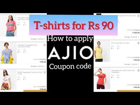 How to apply ajio coupon code in detail/ajio T-shirts Rs 90/Ajio