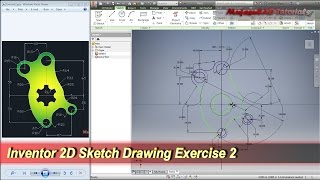 Inventor 2D Sketch Drawing Tutorial | Practice Exercise 2