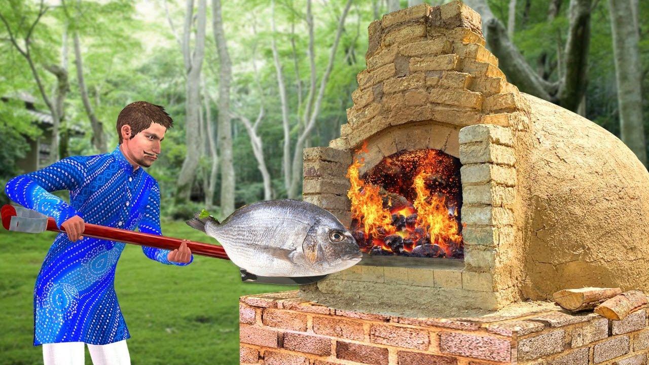 विशाल मिट्टी ओवन मछली पकाने Giant Clay Oven Fish Cooking Comedy Video Hindi Kahaniya हिंदी कहानियां