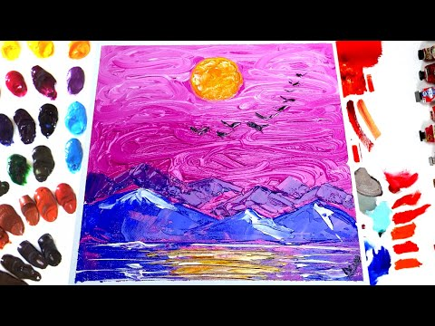 Acrylic Painting.Diamond Landscape.Easy & Simple Step by Step