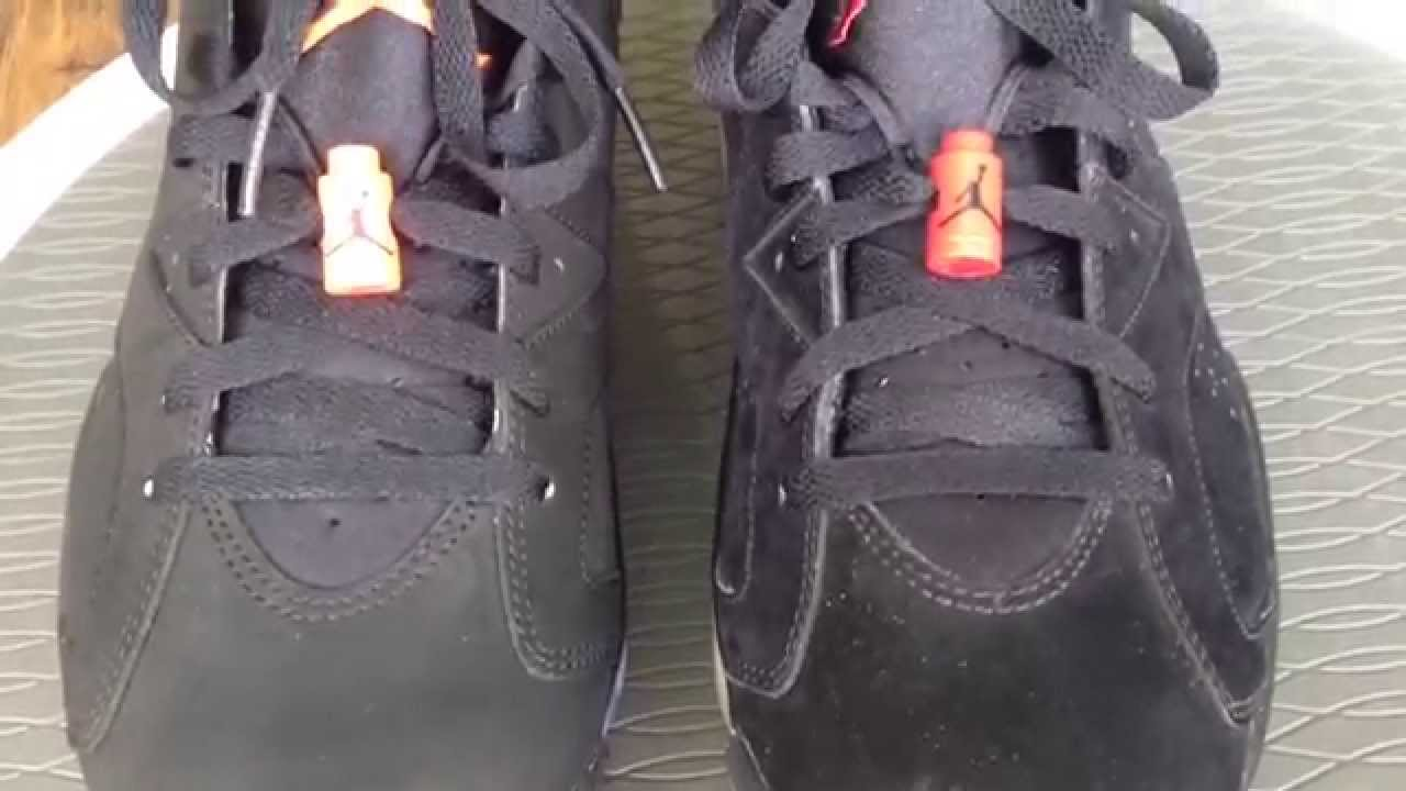 f39538815fb Black Infrared and Black Varsity Red Jordan 6 comparison - YouTube