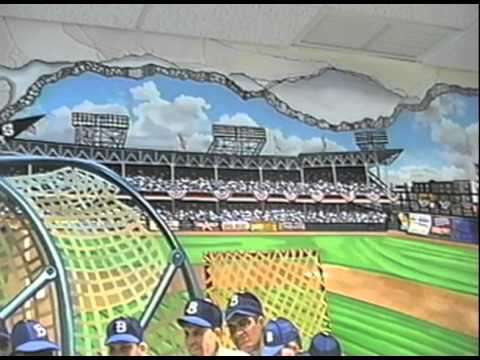 Hand Painted Wall Mural: Ebbets Baseball Field, By Muralist Bonnie Siracusa    YouTube Part 11