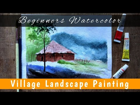 Watercolor painting of Tribal village Step by Step | Watercolor Painting for Beginners