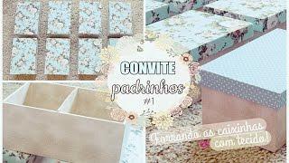 Forrando as caixinhas com tecido por Dogeitinho Dagi