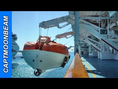 ABANDON SHIP! Norwegian Sky Lifeboat Drill, Schat Harding Lifeboat and Davit