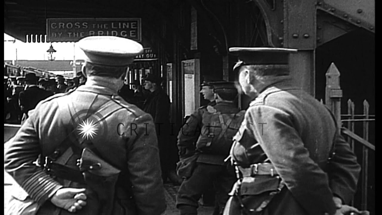 British troops boarding a train at a railway station in the United kingdom during...HD Stock Footage