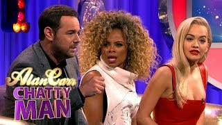 danny dyer tells fleur east and rita ora how to handle fans alan carr chatty man