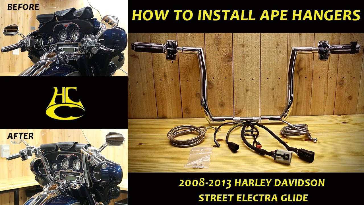 how to install ape hanger handlebars on 2008 2013 harley davidson street electra glide [ 1280 x 720 Pixel ]