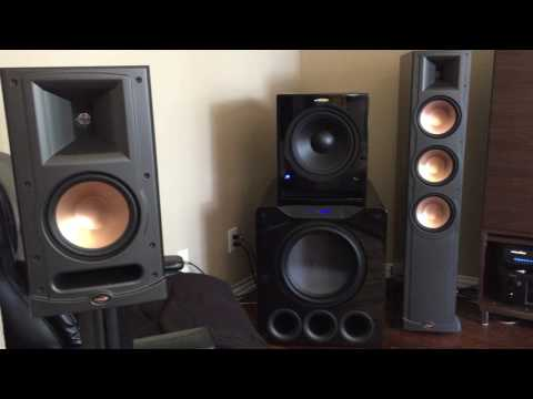 Blasting 50+ Speakers Klipsch SVS Velodyne Martin Logan subs Home Audio