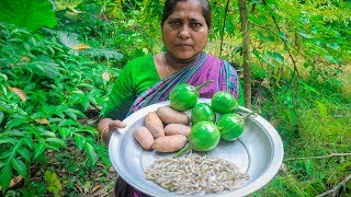Shrimp, Eggplant, Potatoes Village Cooking Recipe by Village Food Life