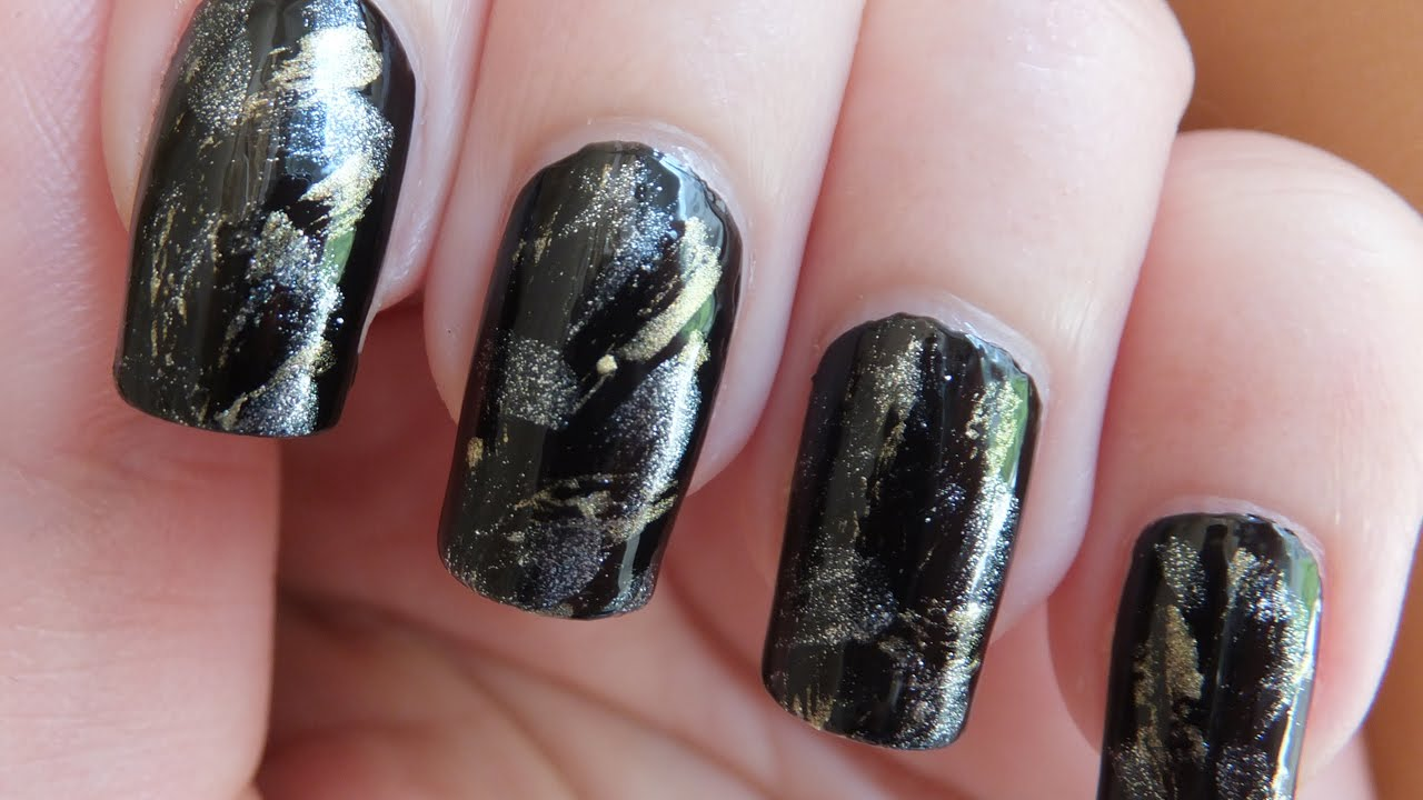 Black Gold And Silver Dry Brush Technique Nail Art Design Tutorial