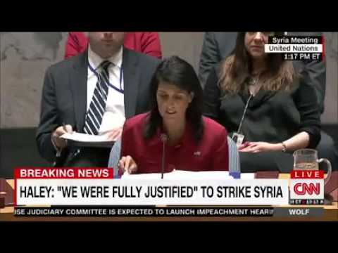 Haley Defends U.S. Airstrikes at U.N., Denounces Iran and Russia For Supporting Assad