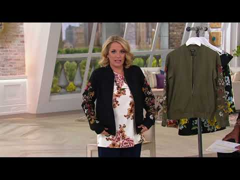 Du Jour Zip Front Embroidered Ponte Knit Bomber Jacket on QVC