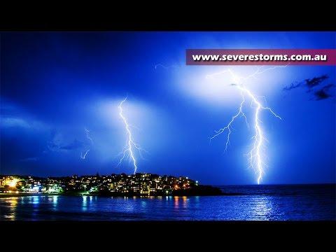 Epic Lightning Storm Hits Bondi Beach Sydney Australia