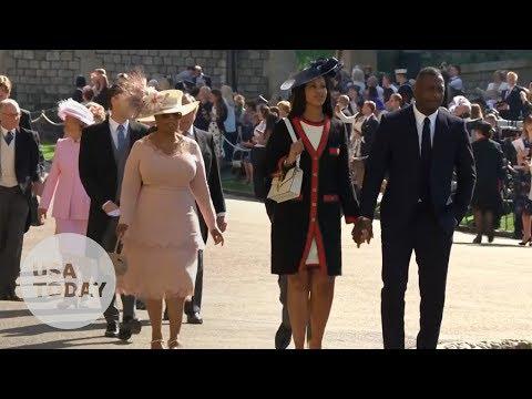 Idris Elba and Oprah Winfrey arriving for the royal wedding