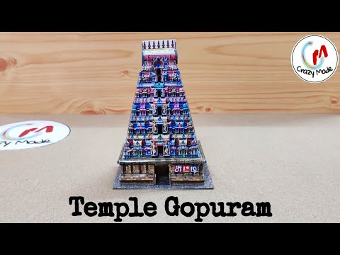 Make easy paper Temple Gopuram | Rajagopuram - Papercrafts