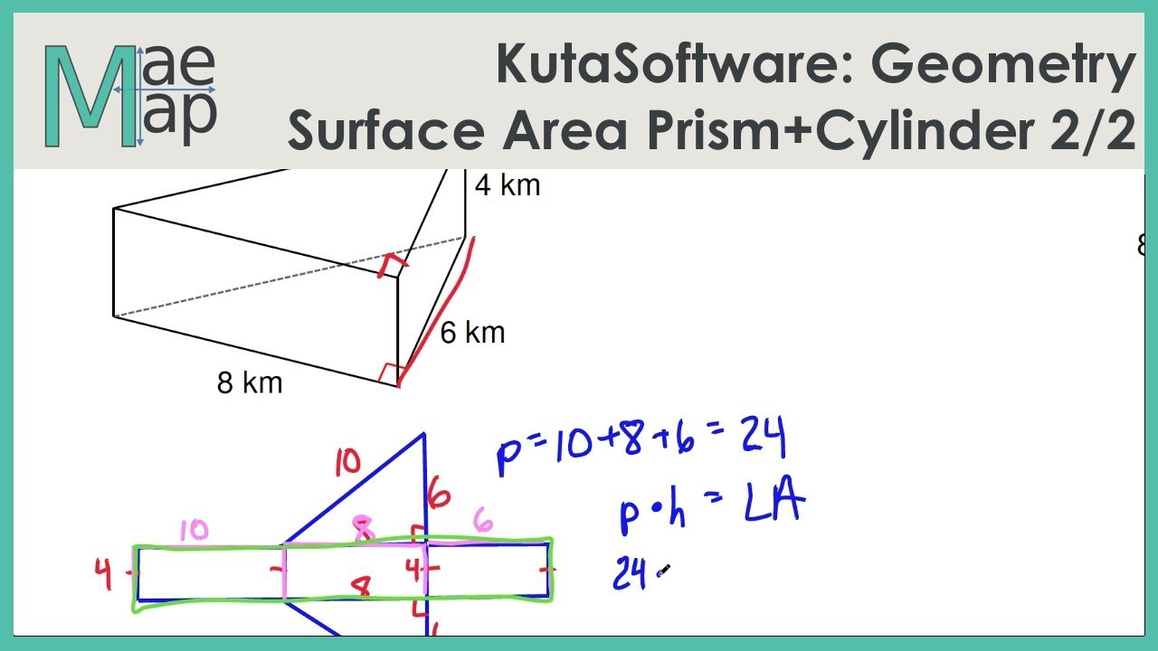 KutaSoftware: Geometry- Surface Area Of Prisms And Cylinders Part 2