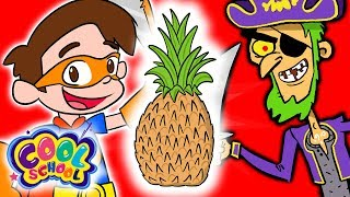 Find the Hidden Pineapples! - Super Drew VS Treasure Island Pirates | Fun Kids Games at Cool School