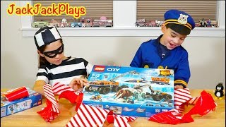 Unboxing Legos in Pretend Play Cops and Robbers Skit - Lego City Arctic Exploration Sets