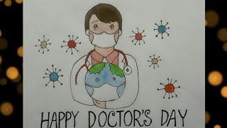 How to draw Doctor's day/National Doctor's Day/Poster colour for beginners step by step