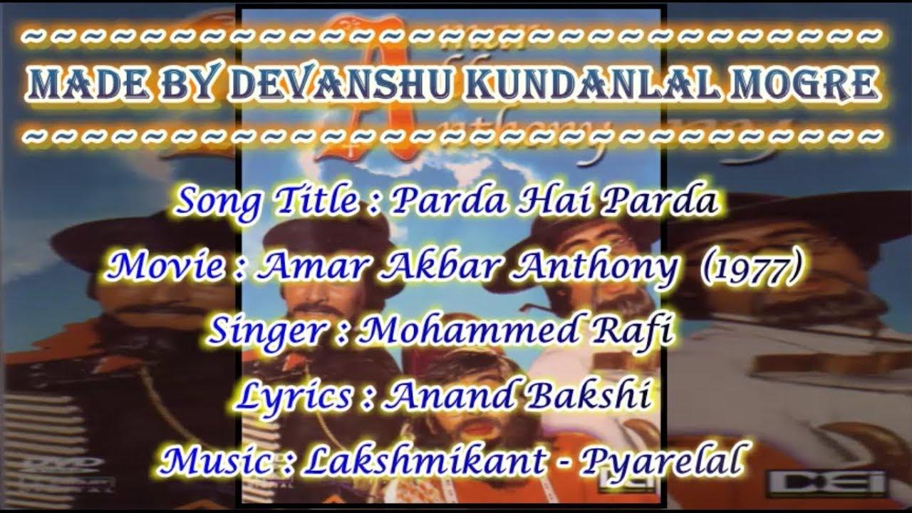 Download Parda Hai Parda Origional Karaoke With Chorus In Scrolling Lyrics - Mohammed Rafi