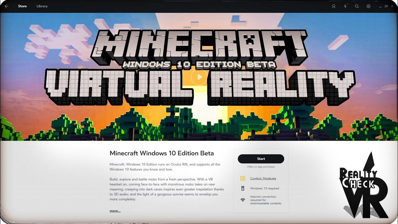 OFFICIAL MINECRAFT FOR OCULUS RIFT  WINDOWS 10 VR EDITION