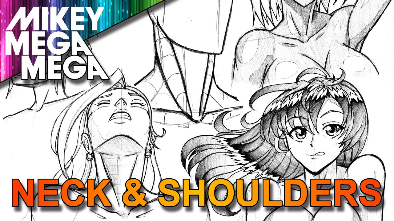 How to draw neck shoulders head looking up for girls in anime manga