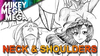 How To Draw NECK SHOULDERS & HEAD LOOKING UP FOR GIRLS IN ANIME MANGA