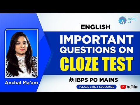 IBPS PO MAINS | Important Questions on CLOZE TEST | English | Anchal Ma'am