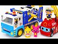The villain stole pinkfong's safe! Let's go! Pororo pump police carrier cars!   PinkyPopTOY