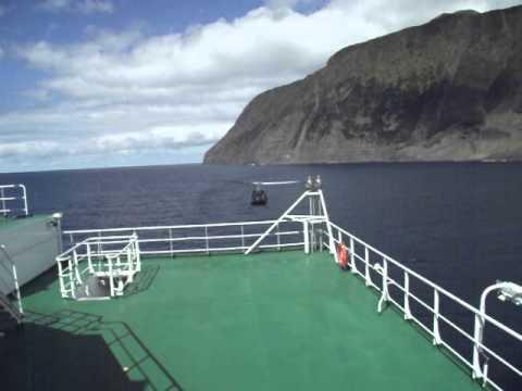 Helicopter leaving Tristan da Cunha
