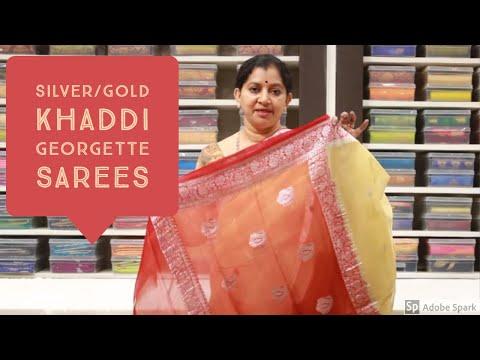 |silver|gold-kaddi-georgette-sarees||#georgette#episode11