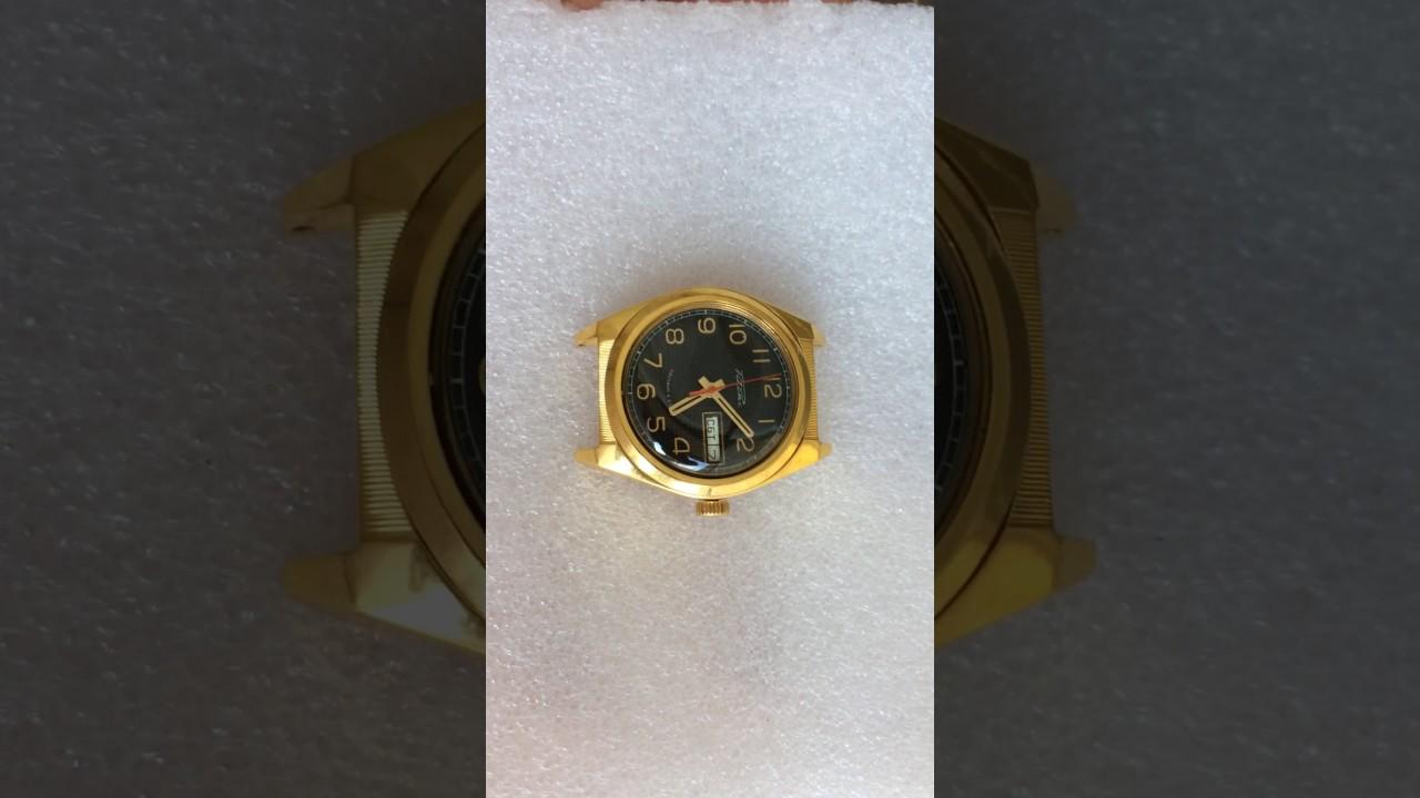 наручные часы Ракета СССР города мира серебристые позолоченные .