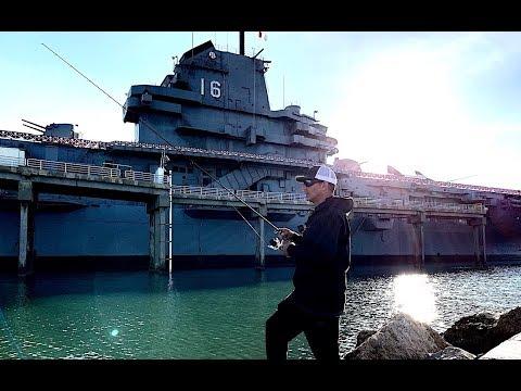 Fishing Corpus Christi On Foot || Trout At The USS Lexington