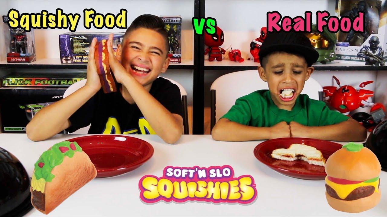 SQUISHY FOOD vs REAL FOOD CHALLENGE! DEION HATES PB&J - YouTube