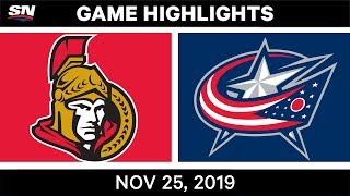 NHL Highlights   Senators vs Blue Jackets – Nov. 25, 2019
