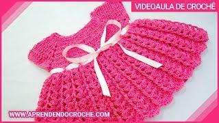 Repeat youtube video Vestido de Croche para Bebê Princesinha - Aprendendo Crochê