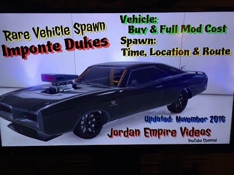 """GTA 5 : Rare Vehicle Spawn """"Imponte Dukes"""" Spawn Location Times and Route With Full Mod & Buy Cost from YouTube · Duration:  14 minutes 16 seconds"""