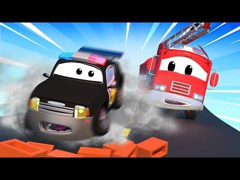 Авто Патруль: пожарная машина и полицейская машина, и Загадка кирпичей на дороге