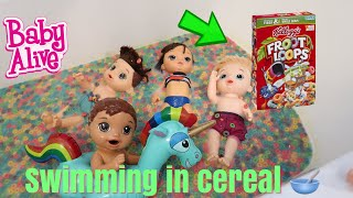BABY ALIVES SWIMMING IN CEREAL FROOT LOOPS thumbnail