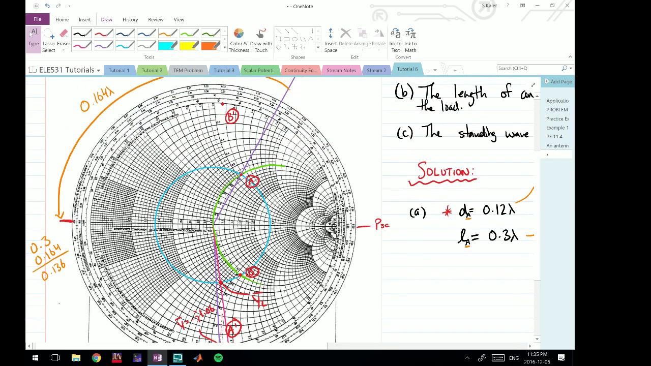 hight resolution of smith chart single stub matching problem 2