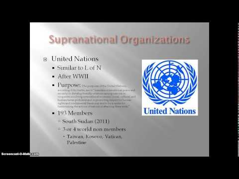 AP Human Geography - United Nations and Supranational Organizations