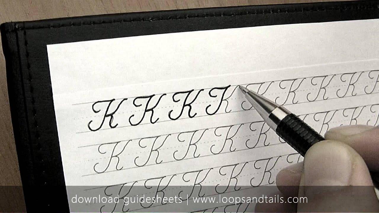 Learn cursive handwriting - Capital K - YouTube